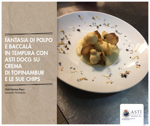 Chef: Marina Pesci – Octopus and salt cod tempura surprise with astidocg on sunroot cream and chips.