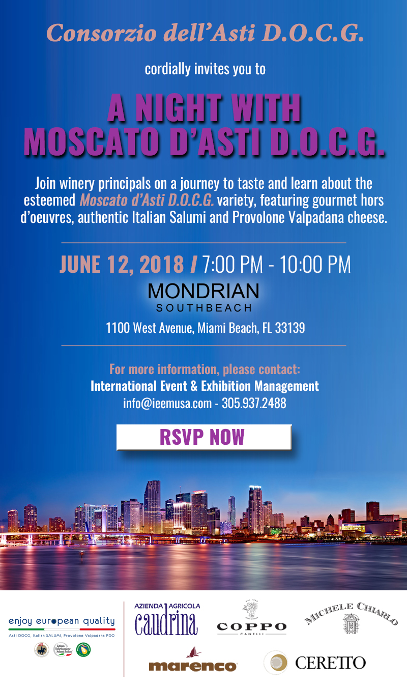 Moscato d'Asti Invitation Miami Evening Event