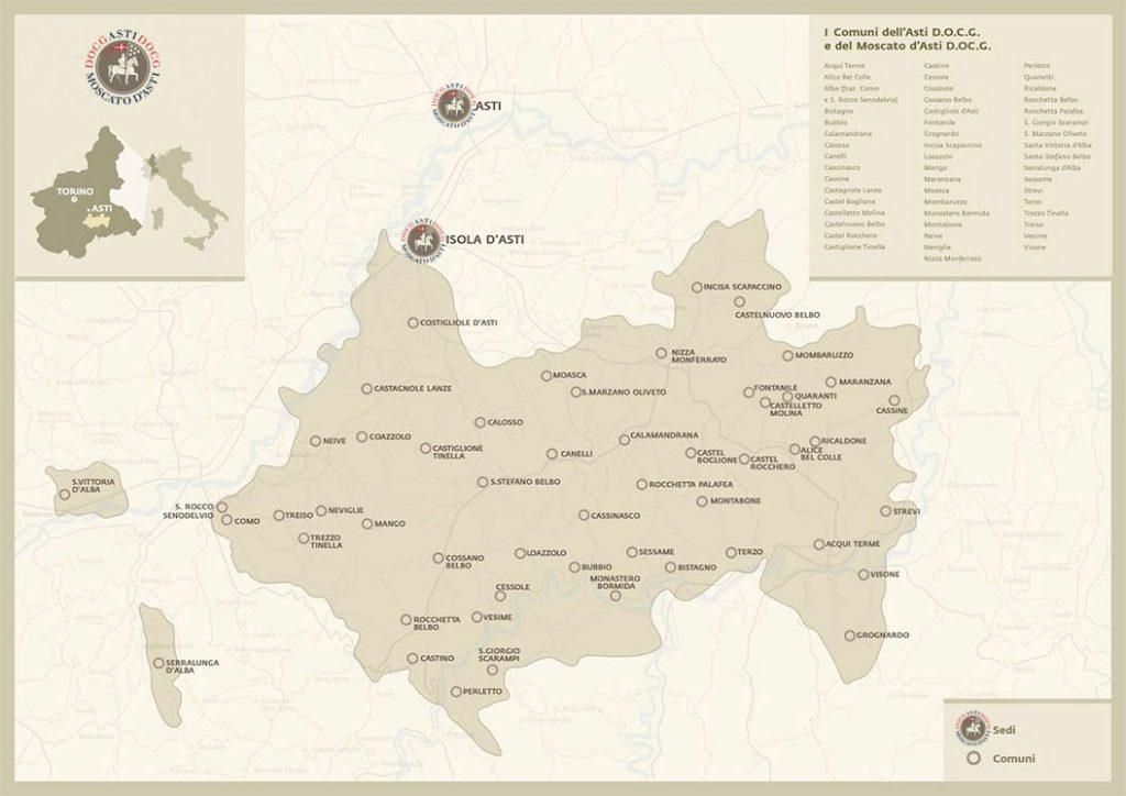 Mappa dell'Asti Docg